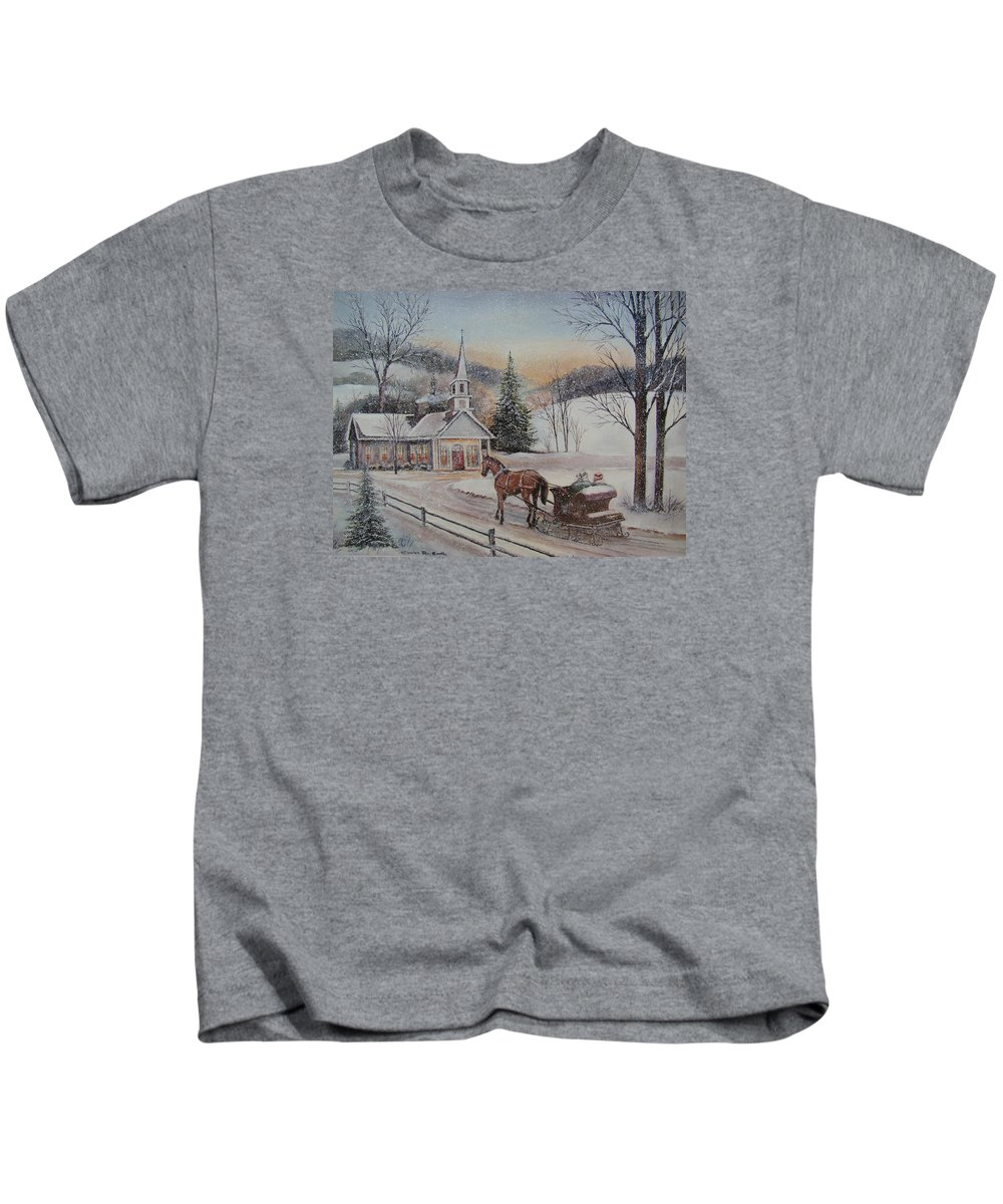 Charles Roy Smith Kids T-Shirt featuring the painting Silent Night by Charles Roy Smith