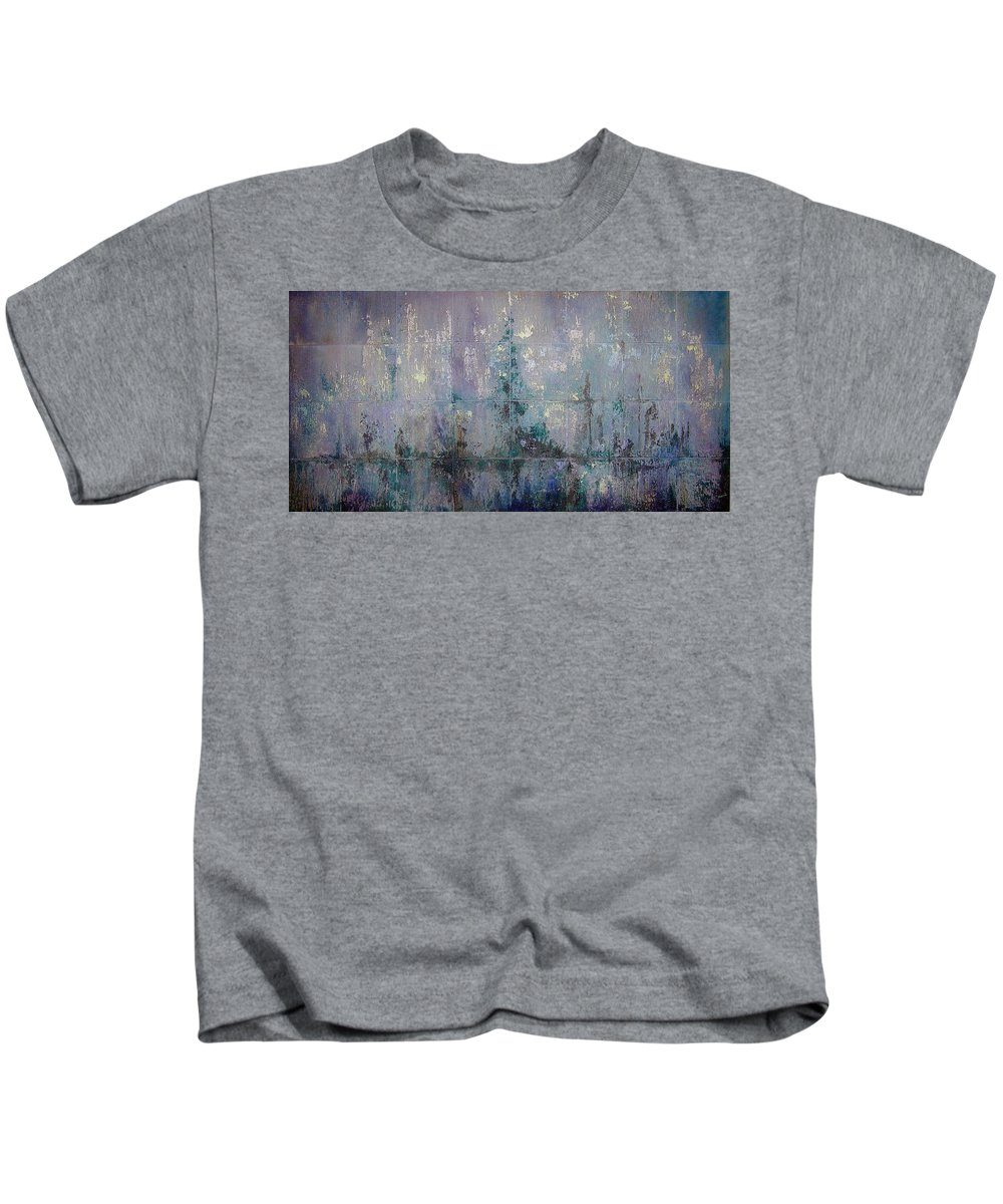 Abstract Kids T-Shirt featuring the painting Silver And Silent by Shadia Derbyshire