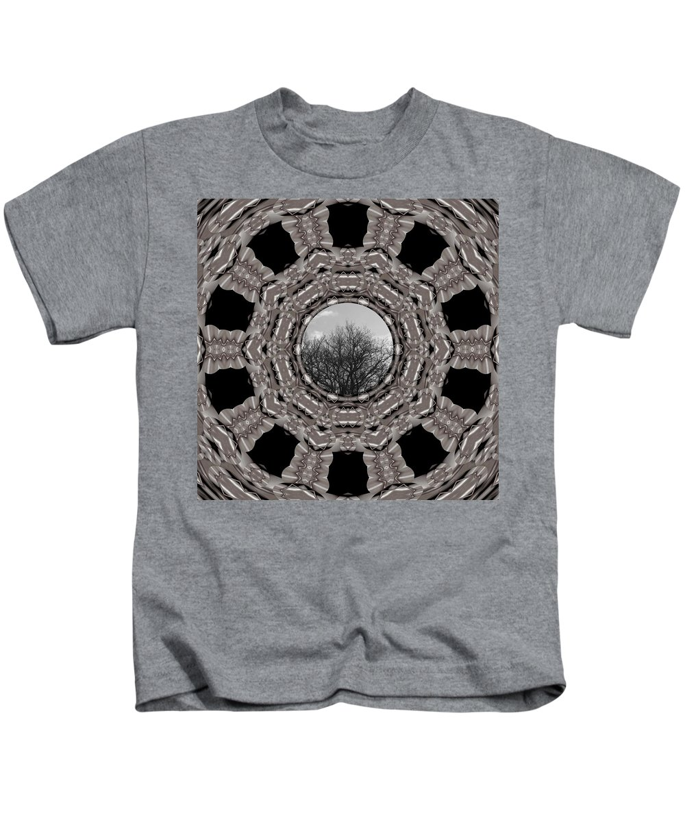 Tree Kids T-Shirt featuring the mixed media Silver Idyl by Pepita Selles