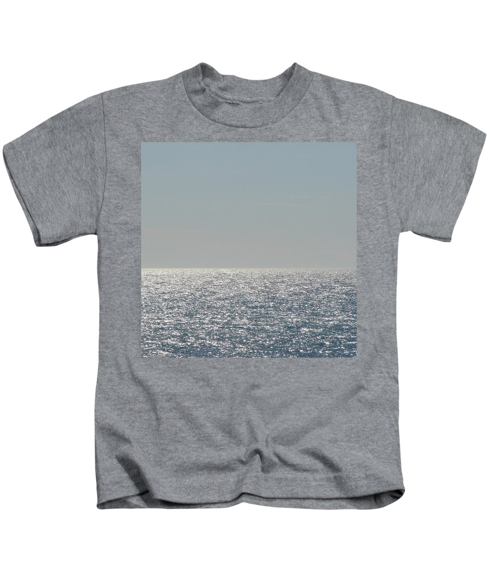 Blue Kids T-Shirt featuring the photograph Silver Light On Lake Michigan by Michelle Calkins