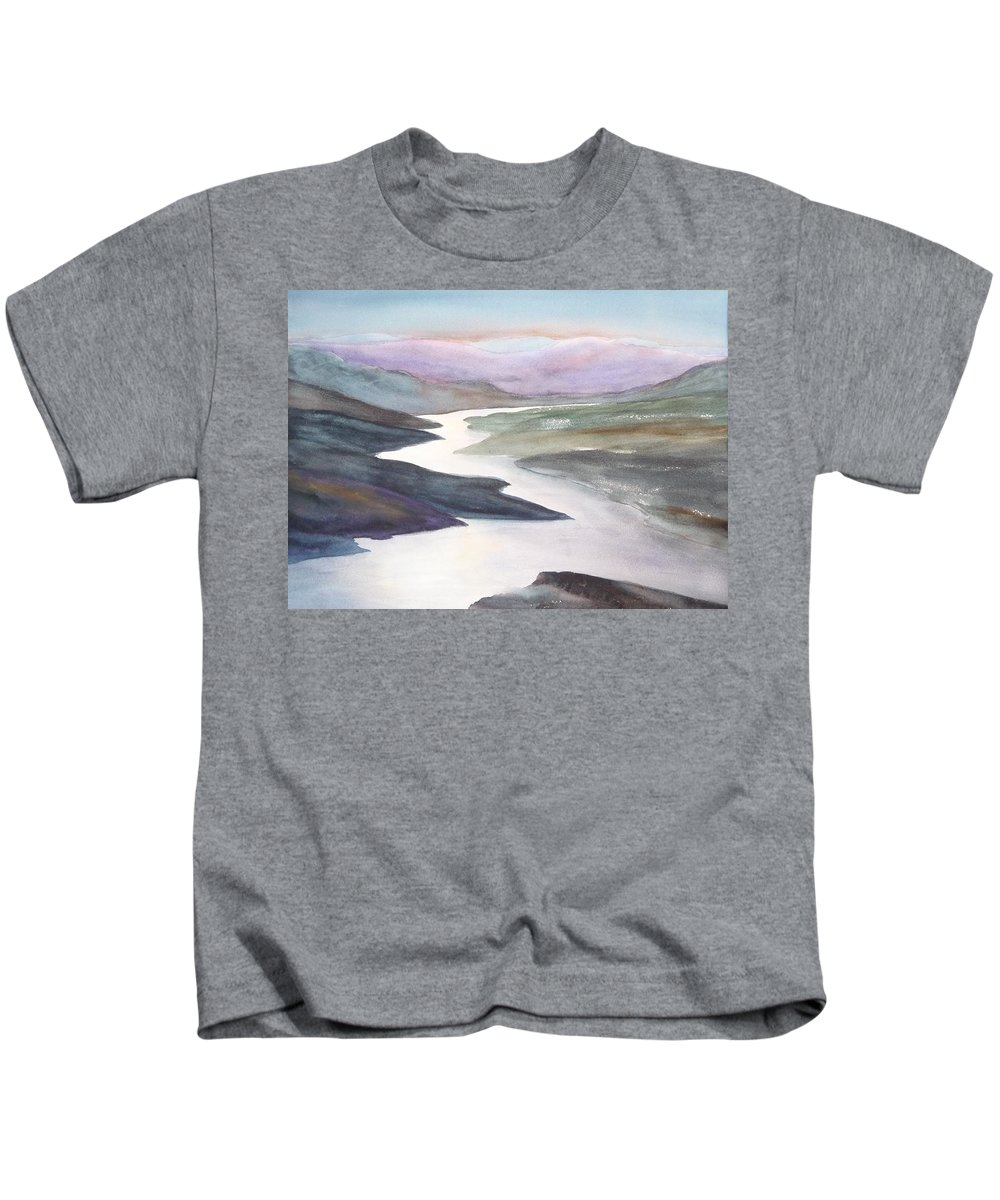 River Kids T-Shirt featuring the painting Silver Stream by Ruth Kamenev