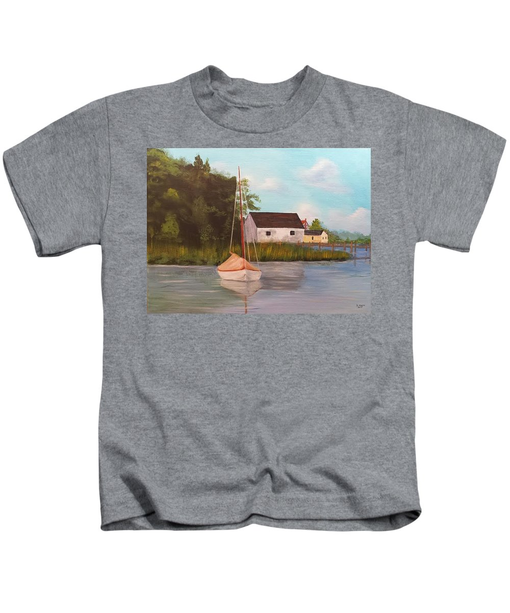 Boat In Harbor Kids T-Shirt featuring the painting Sitting In Still Waters by Douglas Harn