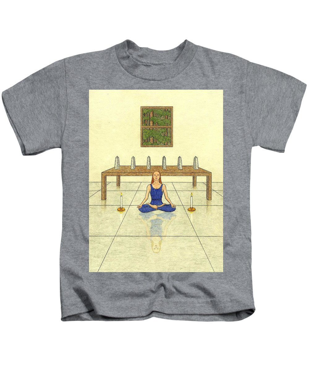 Meditation Kids T-Shirt featuring the drawing Six Of Obelisks by Kathy Pullen