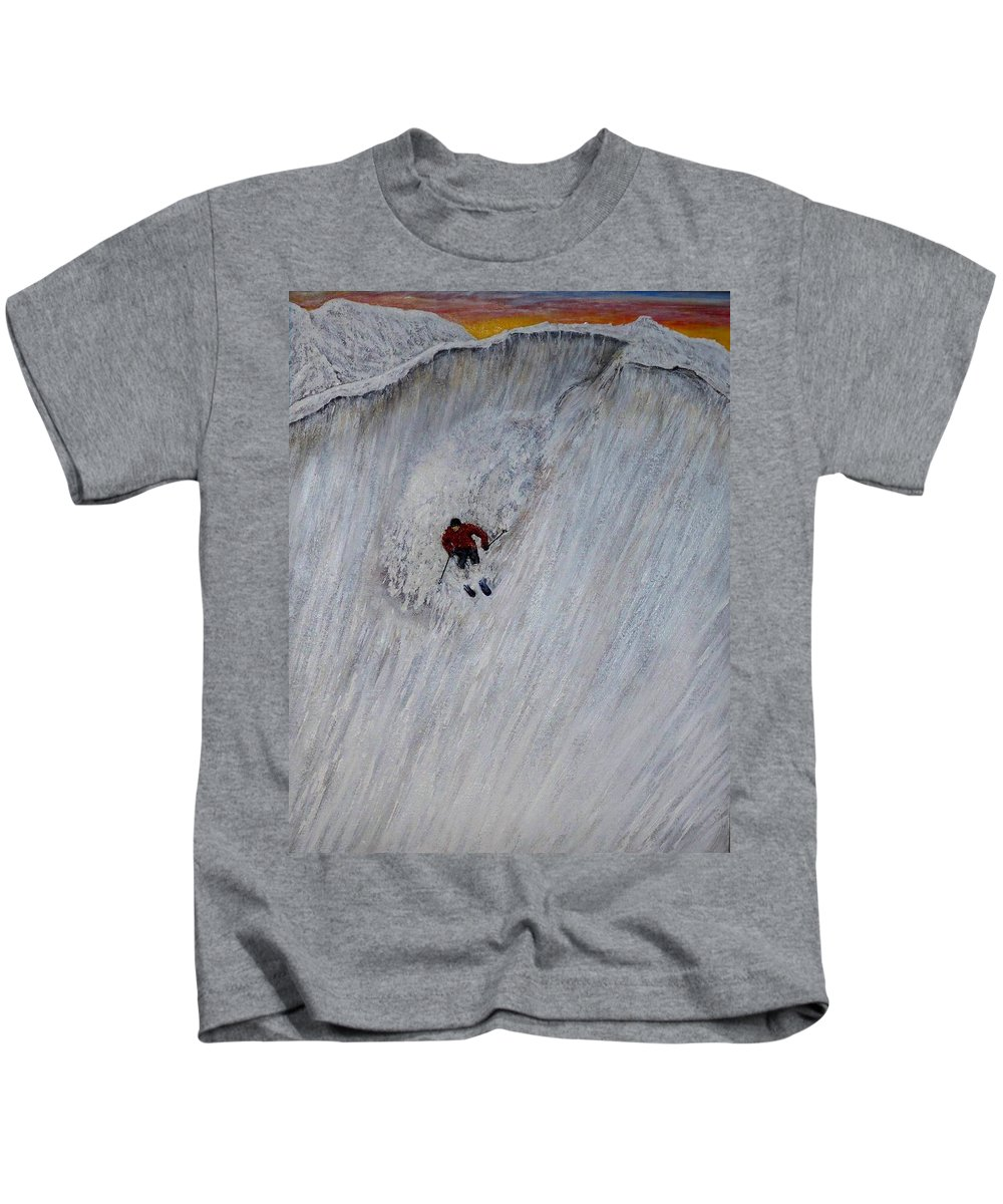 Landscape Kids T-Shirt featuring the painting Skitilthend by Michael Cuozzo
