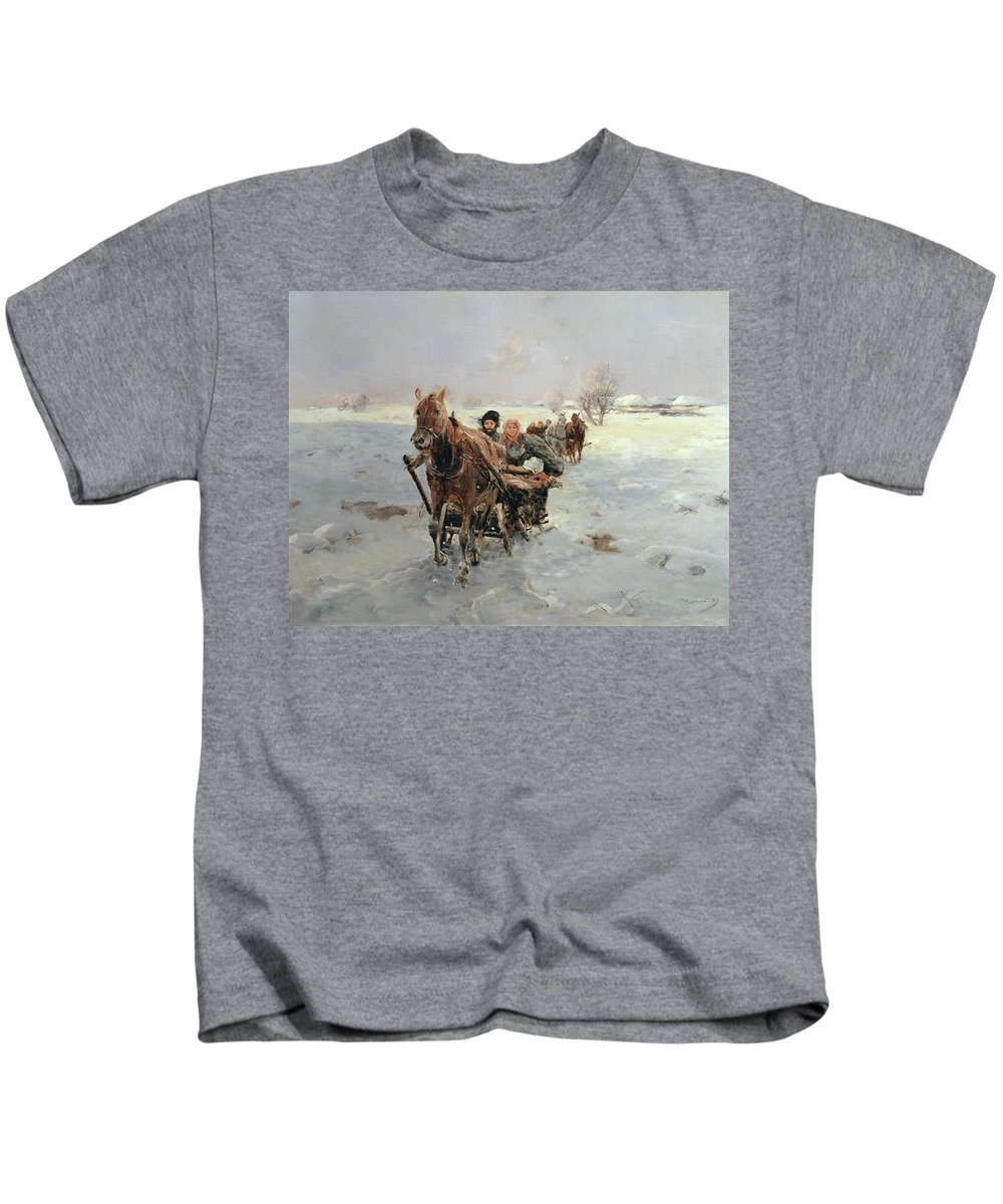 Sleighs Kids T-Shirt featuring the painting Sleighs In A Winter Landscape by Janina Konarsky