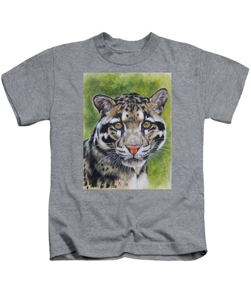Clouded Leopard Kids T-Shirt featuring the mixed media Small But Powerful by Barbara Keith