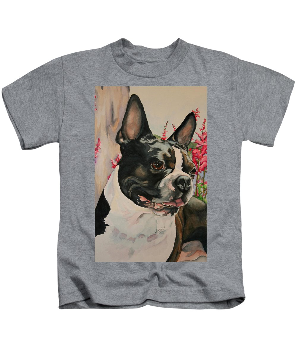 Boston Terrier Kids T-Shirt featuring the painting Smile by Susan Herber