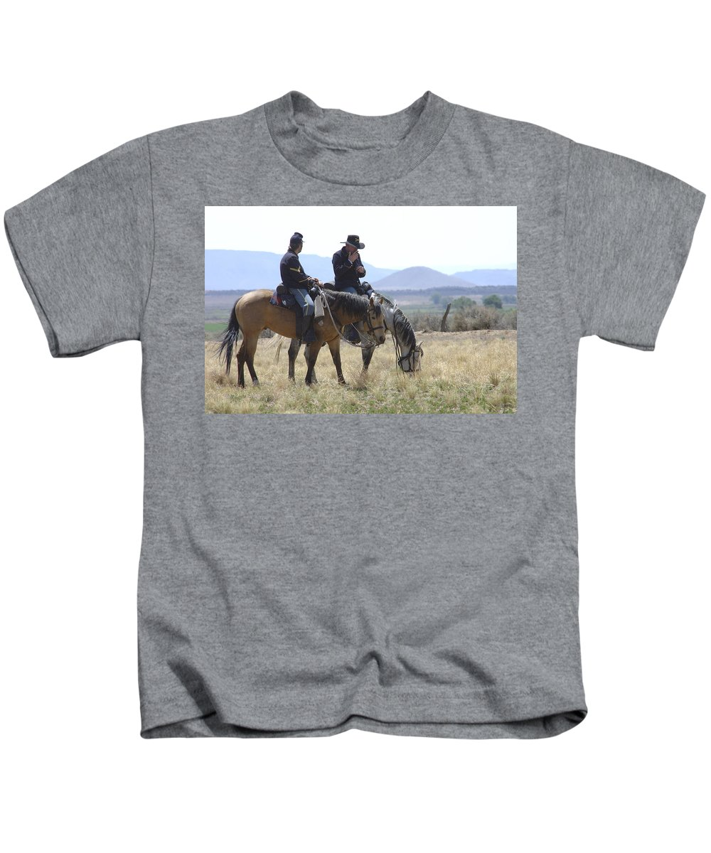 Cowboys Kids T-Shirt featuring the photograph Smoke Break by Jerry McElroy