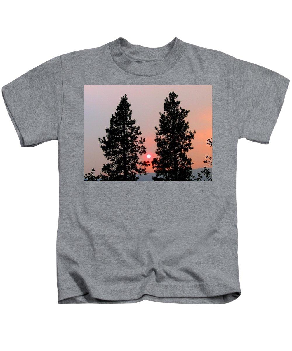 Smoke Kids T-Shirt featuring the photograph Smokey Okanagan Sunset by Will Borden