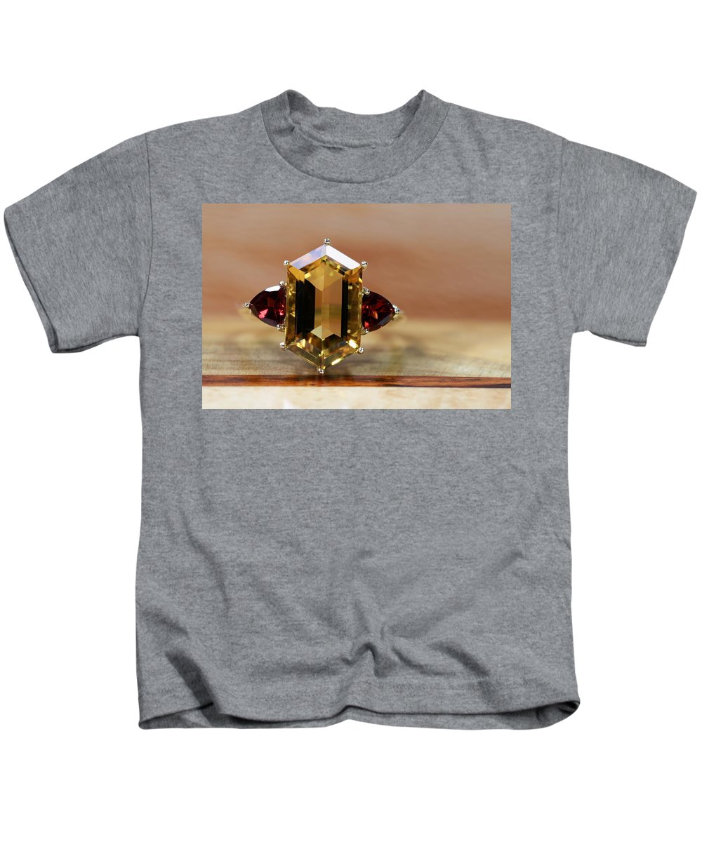 Jewelry Kids T-Shirt featuring the photograph Smokey Quartz Red Garnet by Gary Yost