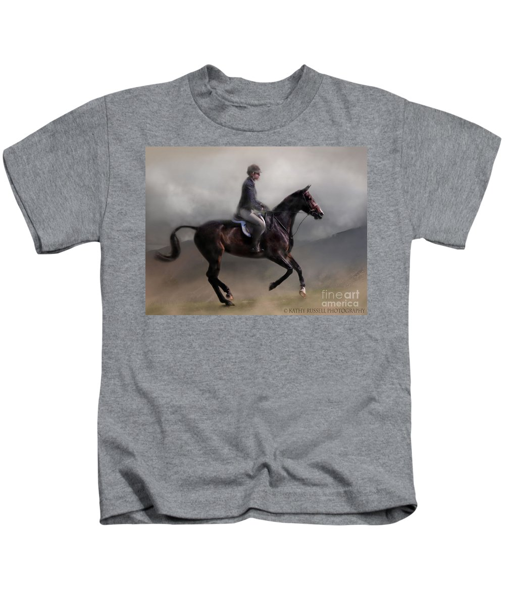 Horse Kids T-Shirt featuring the photograph Smooth Ride by Kathy Russell