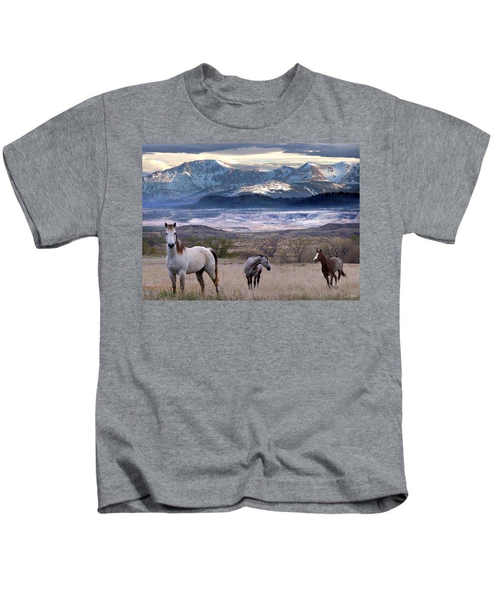Horses Kids T-Shirt featuring the digital art Snapshot by Bill Stephens