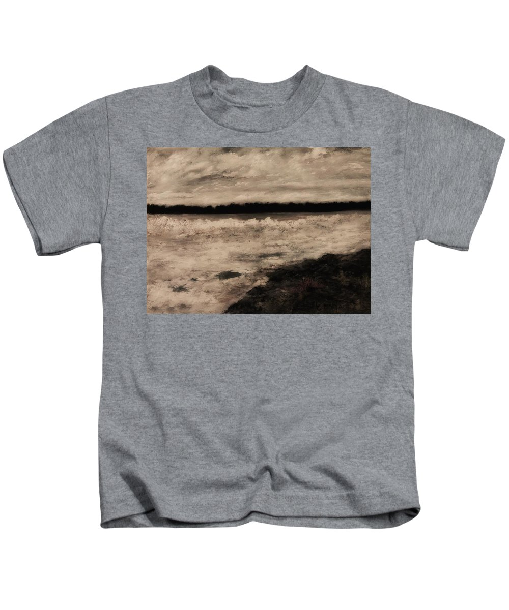 Landscape Kids T-Shirt featuring the painting Snow And Ice by Joanna Deritis