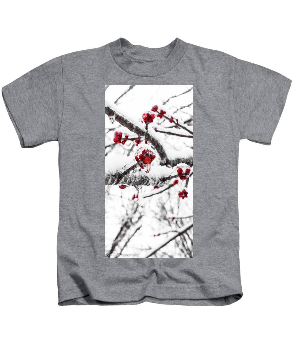 Winter Kids T-Shirt featuring the photograph Snow Berry by DA Photography