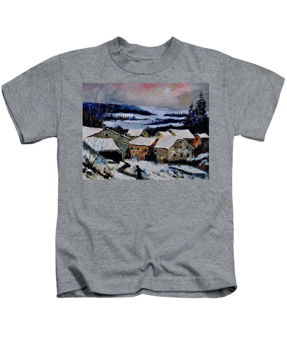 Landscape Kids T-Shirt featuring the painting Snow In Ardennes 79 by Pol Ledent