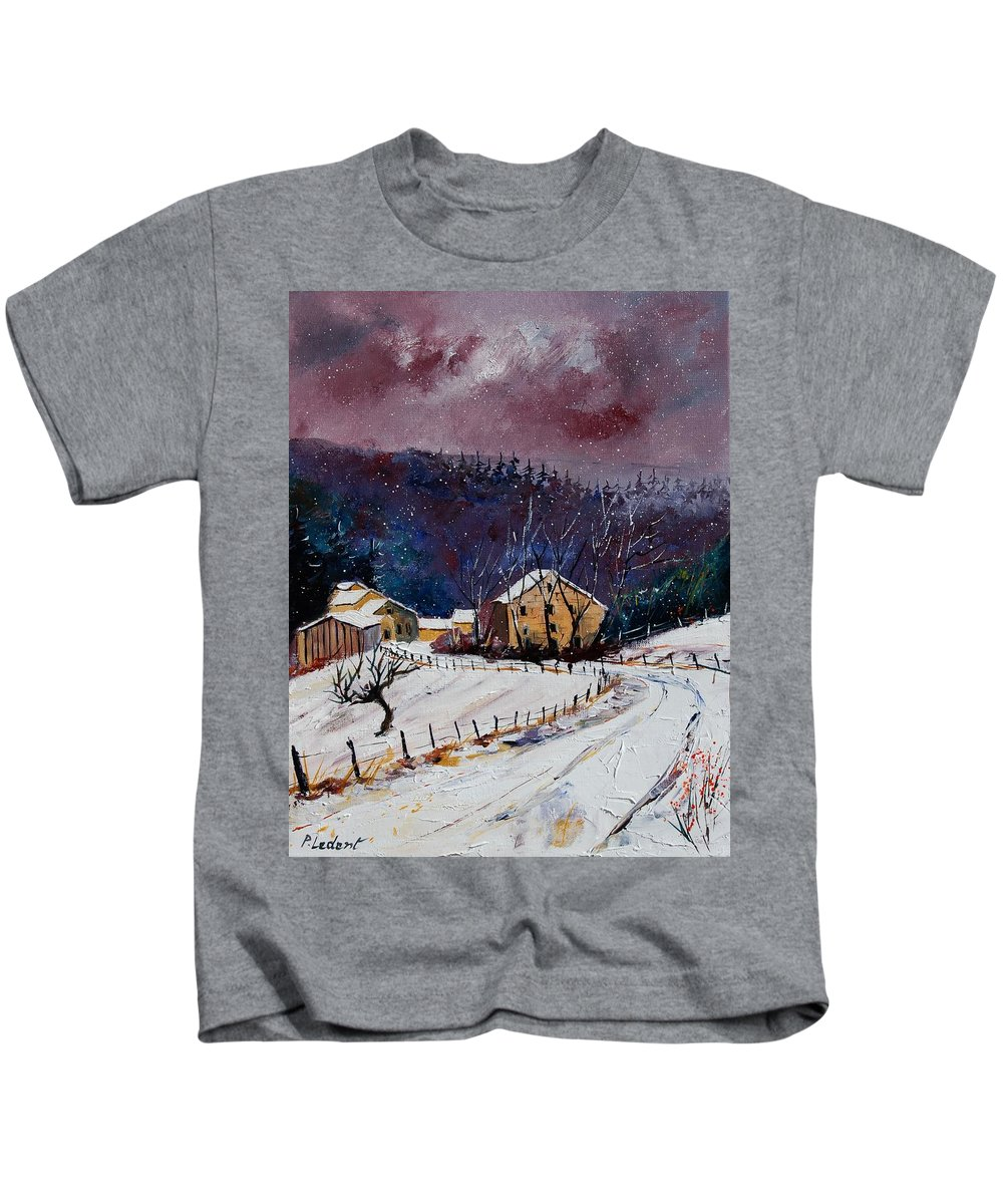 Landscape Kids T-Shirt featuring the painting Snow In Sechery by Pol Ledent