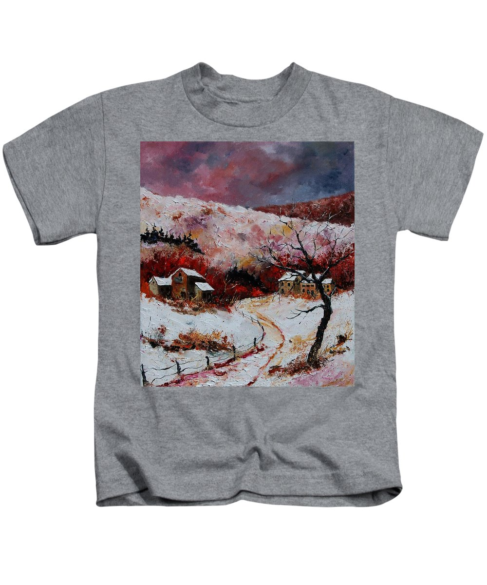 Snow Kids T-Shirt featuring the painting Snow In The Ardennes 78 by Pol Ledent