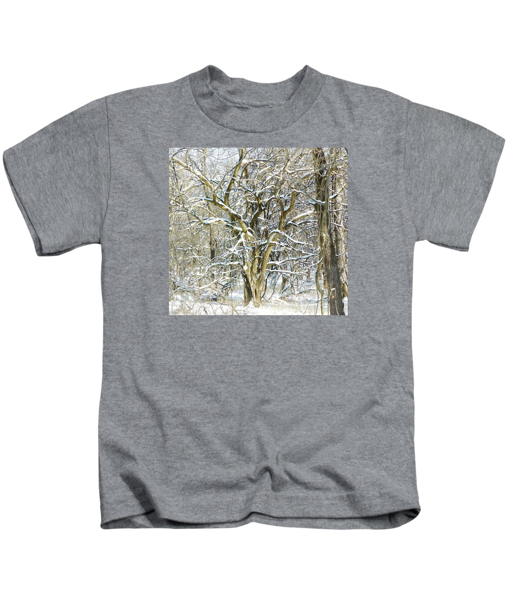 Winter Kids T-Shirt featuring the photograph Snow On A Hedge Tree by Tammy Miller