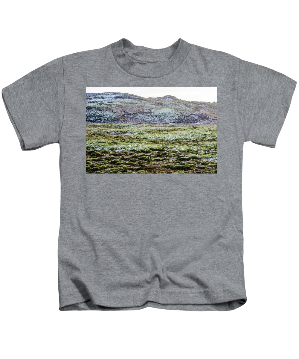 Iceland Kids T-Shirt featuring the photograph Snow On Moss by Deborah Smolinske