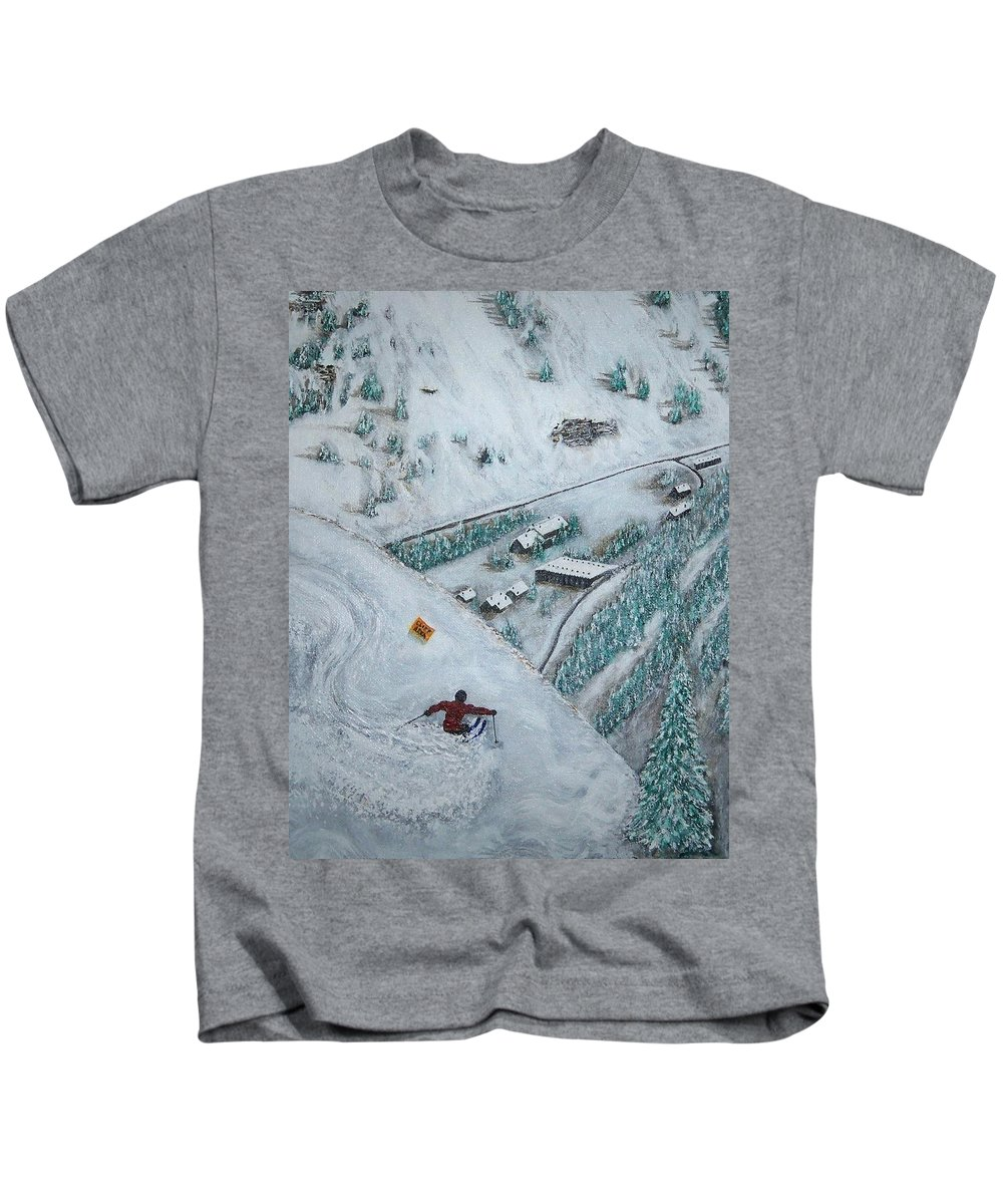 Ski Kids T-Shirt featuring the painting Snowbird Steeps by Michael Cuozzo