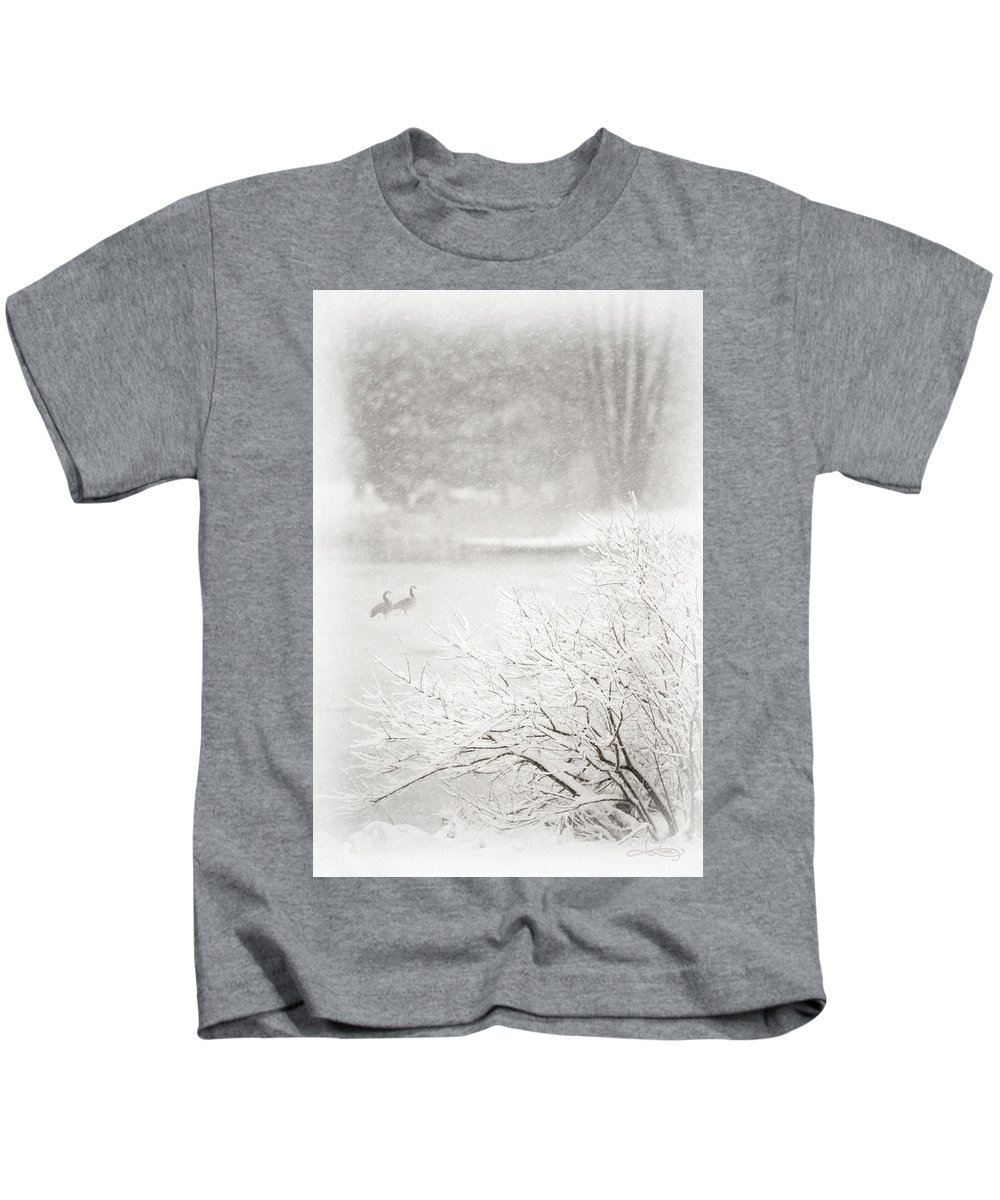 Canadian Geese Kids T-Shirt featuring the photograph Snowbirds 2 by Jill Love