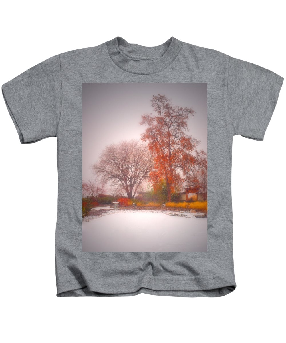 Japanese Gardens Kids T-Shirt featuring the photograph Snowstorm In The Japanese Gardens by Tara Turner