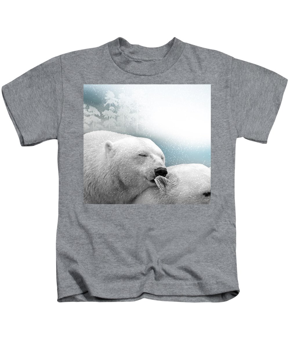 Bear Kids T-Shirt featuring the photograph Snowstorm Kiss by Ericamaxine Price