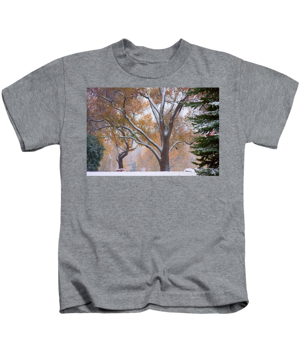 Trees Kids T-Shirt featuring the photograph Snowy Autumn Landscape by James BO Insogna
