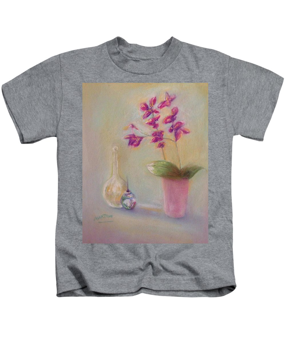 Still Life Kids T-Shirt featuring the pastel Soft Purple Still Life by Michael Martone