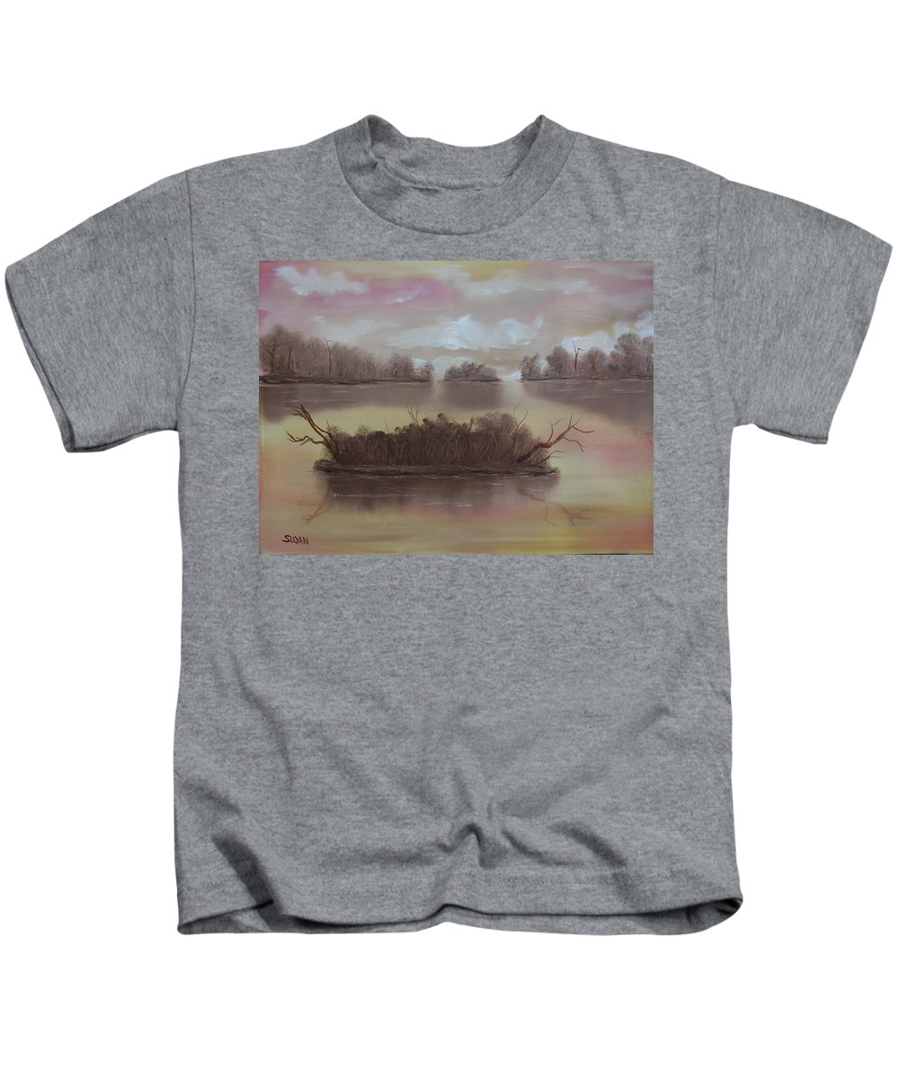 Landscape Kids T-Shirt featuring the painting Softly Spoken by Ervin Sloan