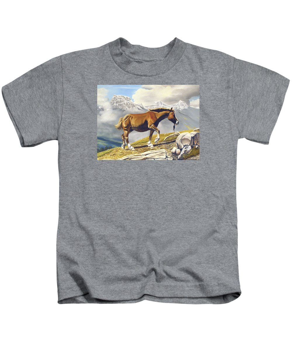 Horse Kids T-Shirt featuring the painting Sole Survivor by Marc Stewart