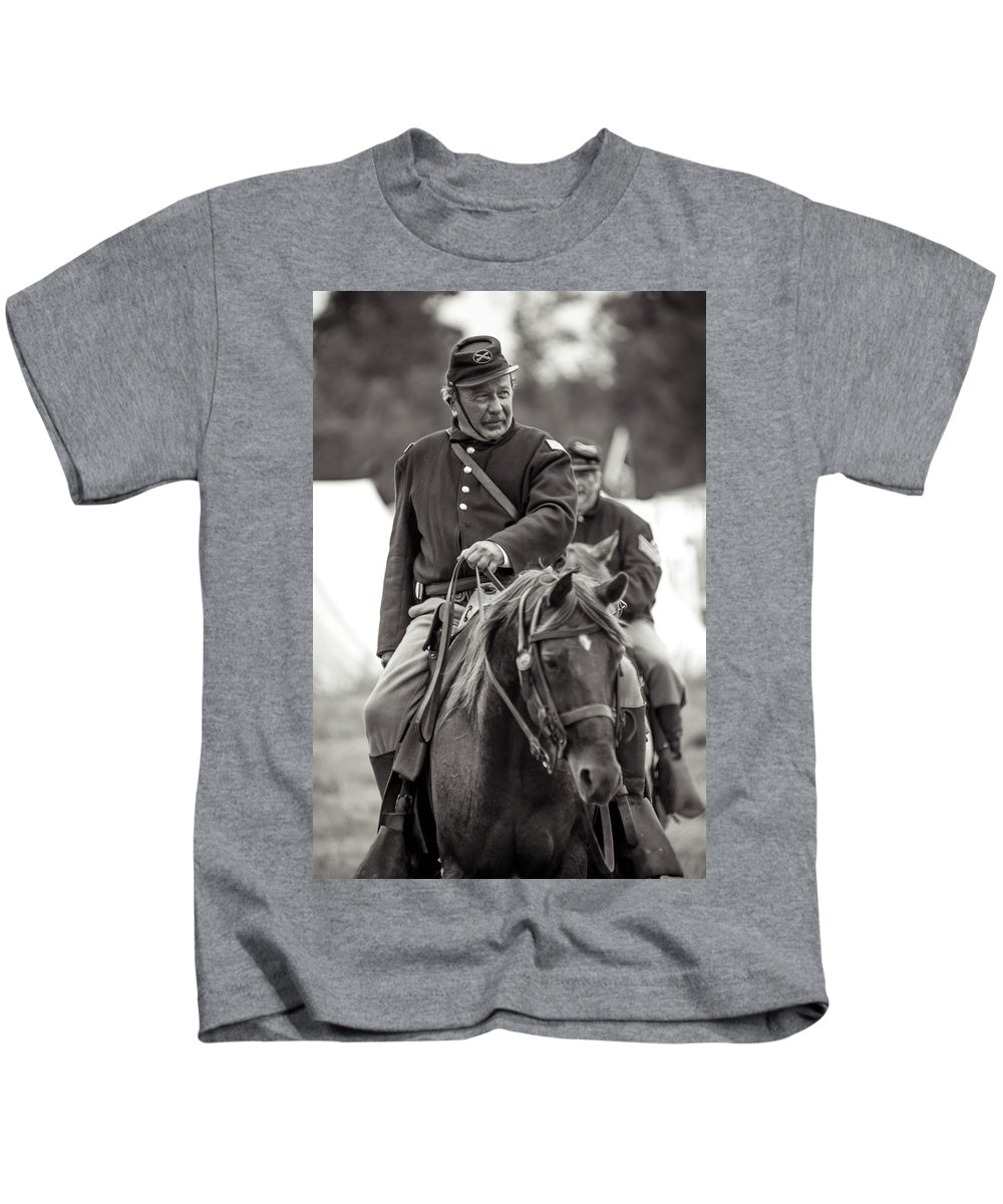 Civil War Kids T-Shirt featuring the photograph Solider On Horseback by Rainbeau Decker
