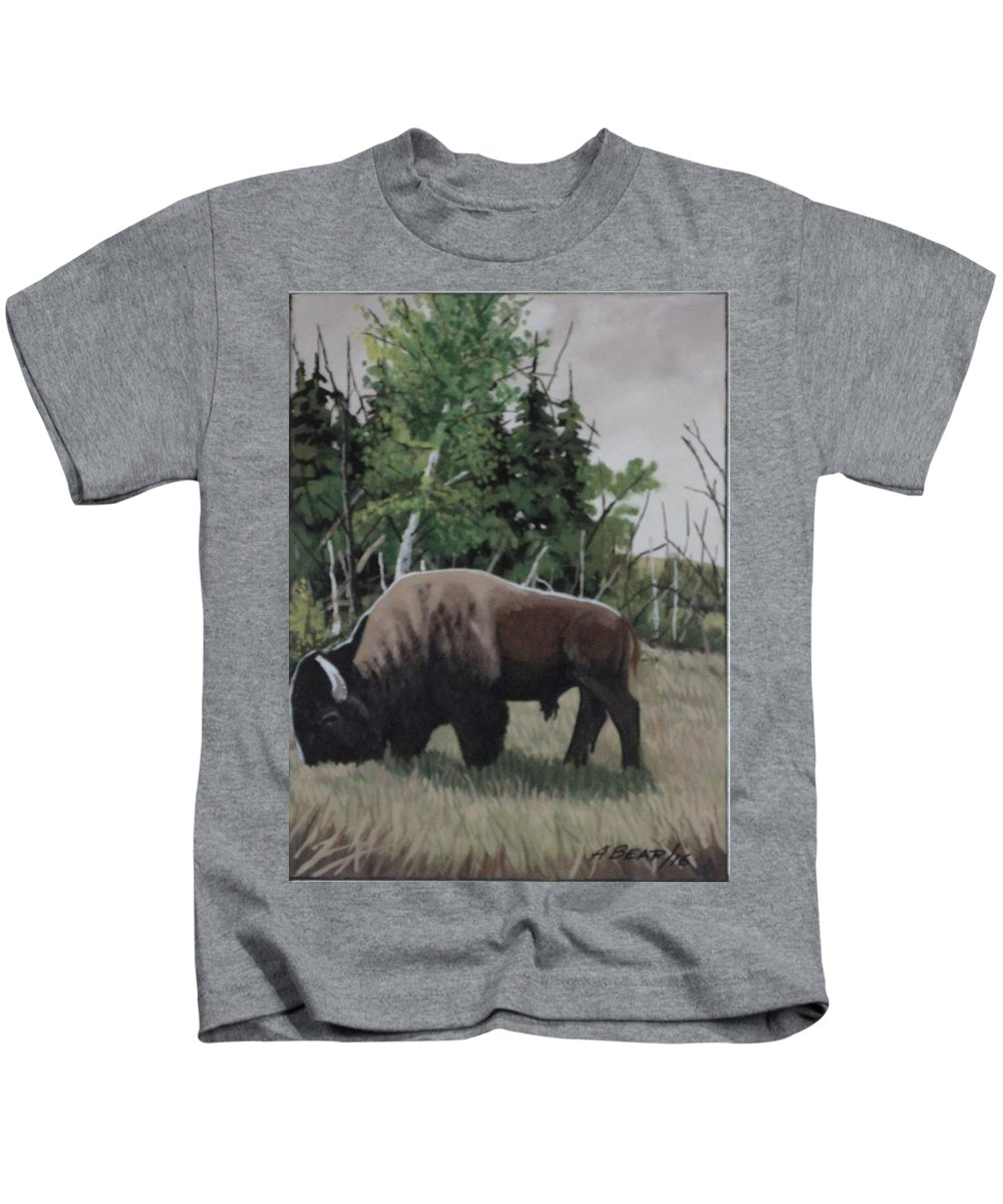One Bison Kids T-Shirt featuring the painting Some Travel Alone by Anthony Bear