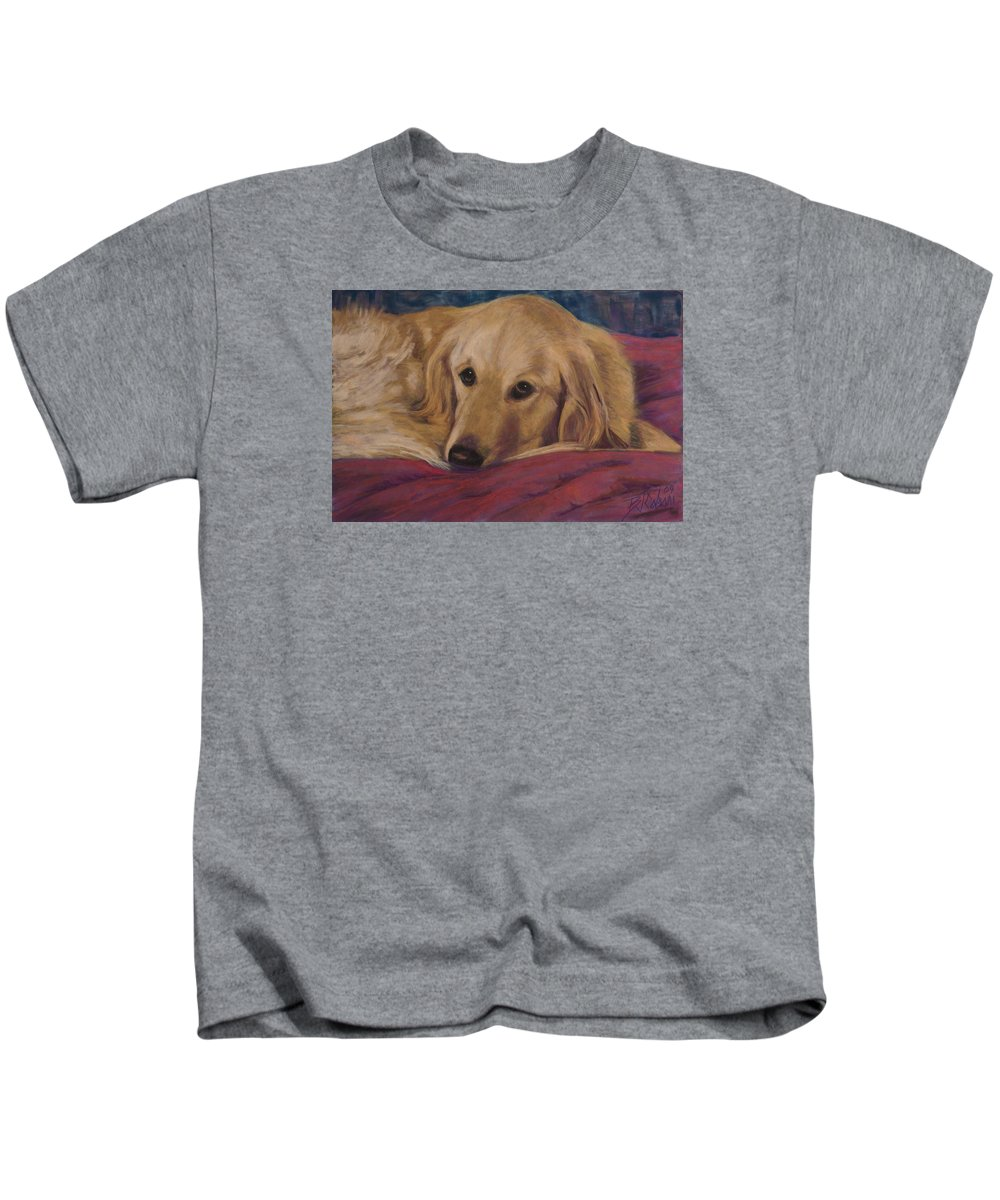 Dogs Kids T-Shirt featuring the painting Soulfull Eyes by Billie Colson