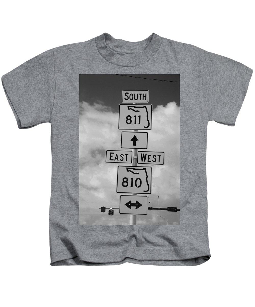 Black And White Kids T-Shirt featuring the photograph South 811 by Rob Hans