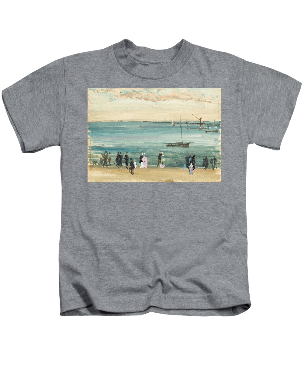 James Mcneil Whistler Kids T-Shirt featuring the painting Southend Pier by James McNeil Whistler