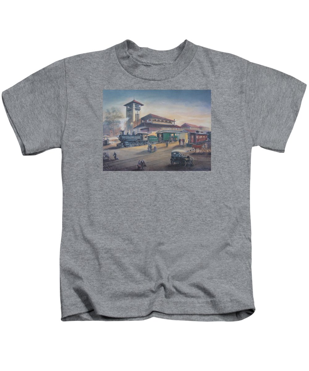 Charles Roy Smith Kids T-Shirt featuring the painting Southern Railway by Charles Roy Smith