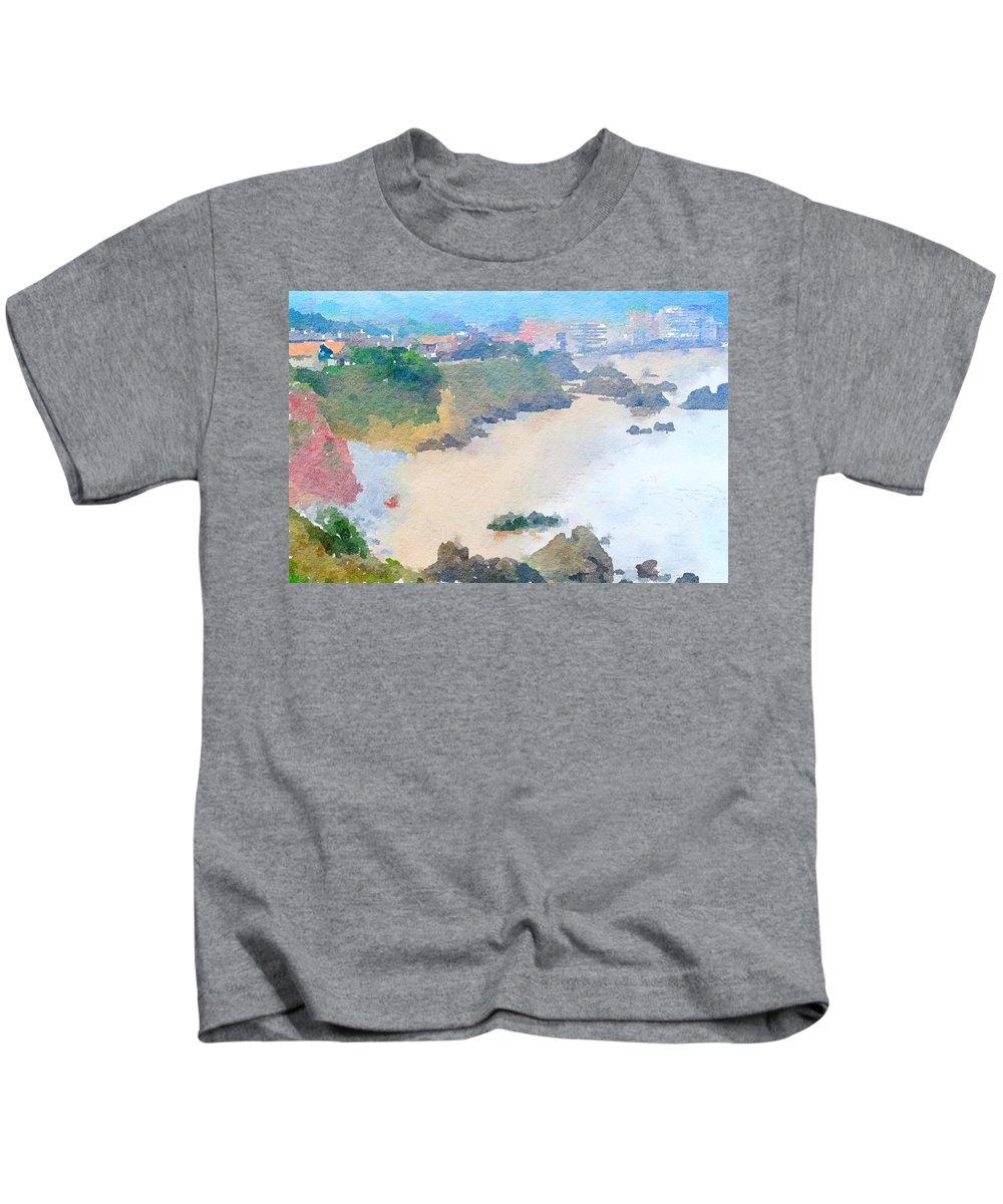 Coastline Kids T-Shirt featuring the painting Spanish Coastline Waterline by Leah Lambart