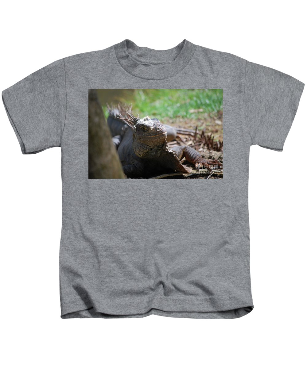 Iguana Kids T-Shirt featuring the photograph Spines Along The Back Of An Iguana In The Tropics by DejaVu Designs