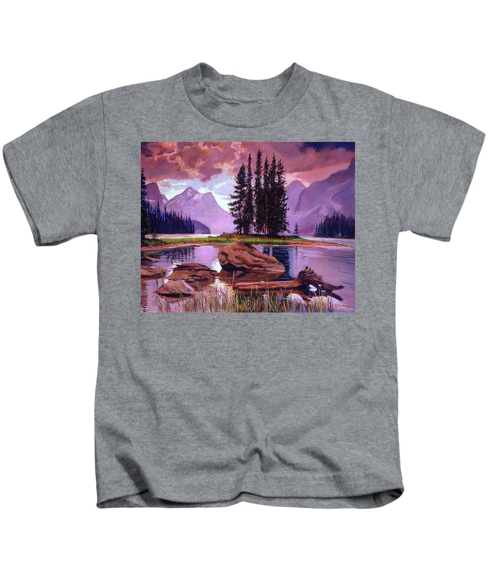 Landscape Kids T-Shirt featuring the painting Spirit Island by David Lloyd Glover