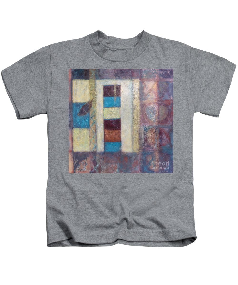 Spiritual Kids T-Shirt featuring the painting Spirit Of Gold - States Of Being by Kerryn Madsen- Pietsch