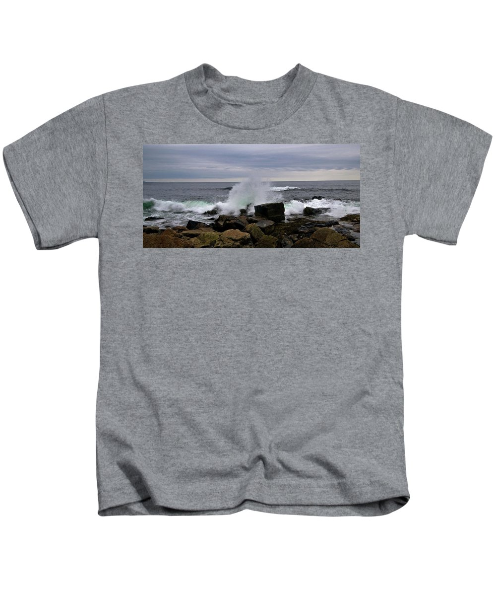 acadia National Park Kids T-Shirt featuring the photograph Splash by Paul Mangold
