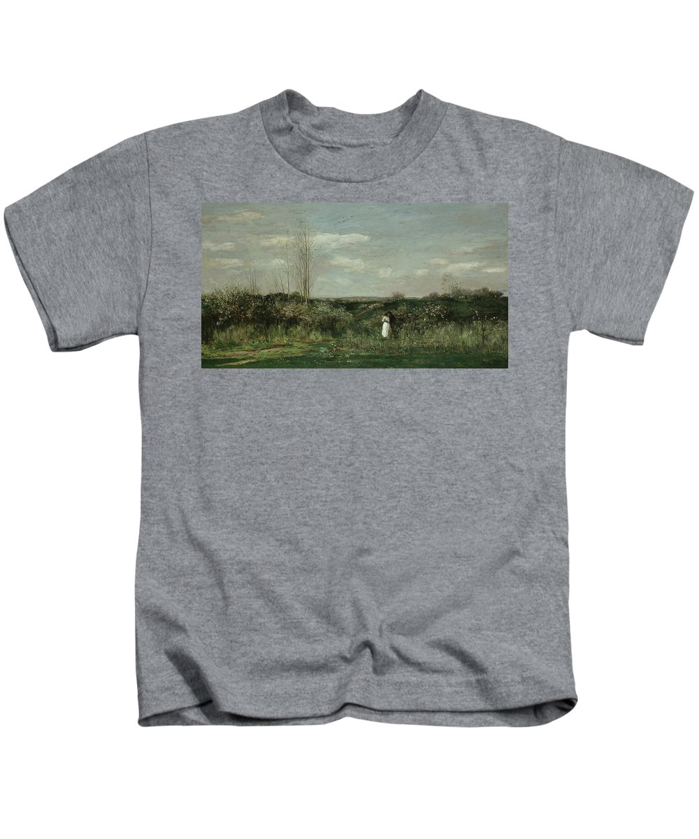 French Art Kids T-Shirt featuring the painting Spring by Charles Francois Daubigny