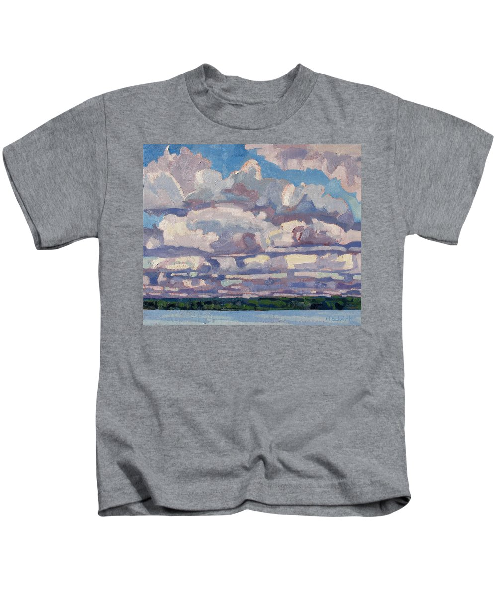 Cumulus Kids T-Shirt featuring the painting Spring Cumulus by Phil Chadwick