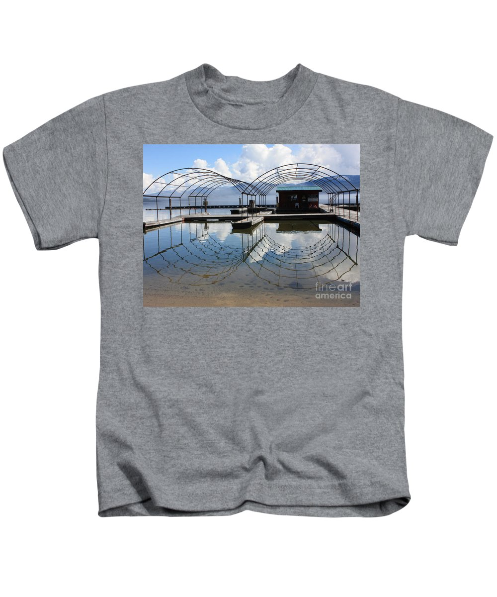 Spring Kids T-Shirt featuring the photograph Spring Docks On Priest Lake by Carol Groenen