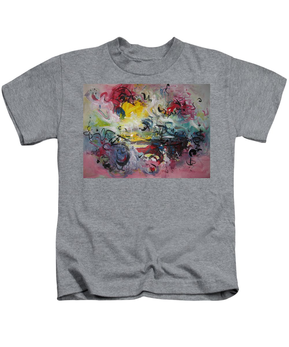 Painting Kids T-Shirt featuring the painting Spring Fever38 by Seon-Jeong Kim