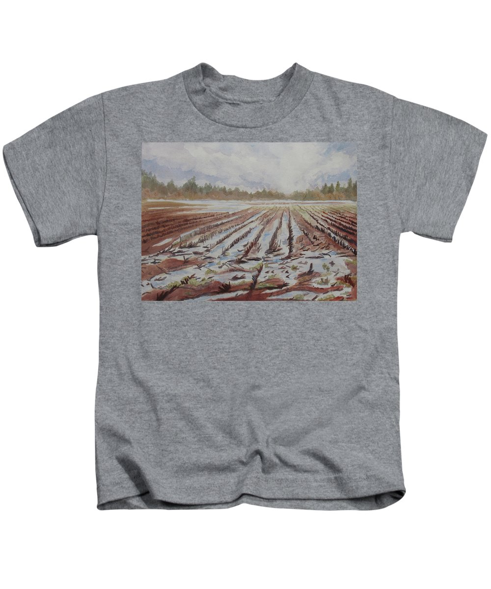 Field Kids T-Shirt featuring the painting Spring Flood by Jenny Armitage