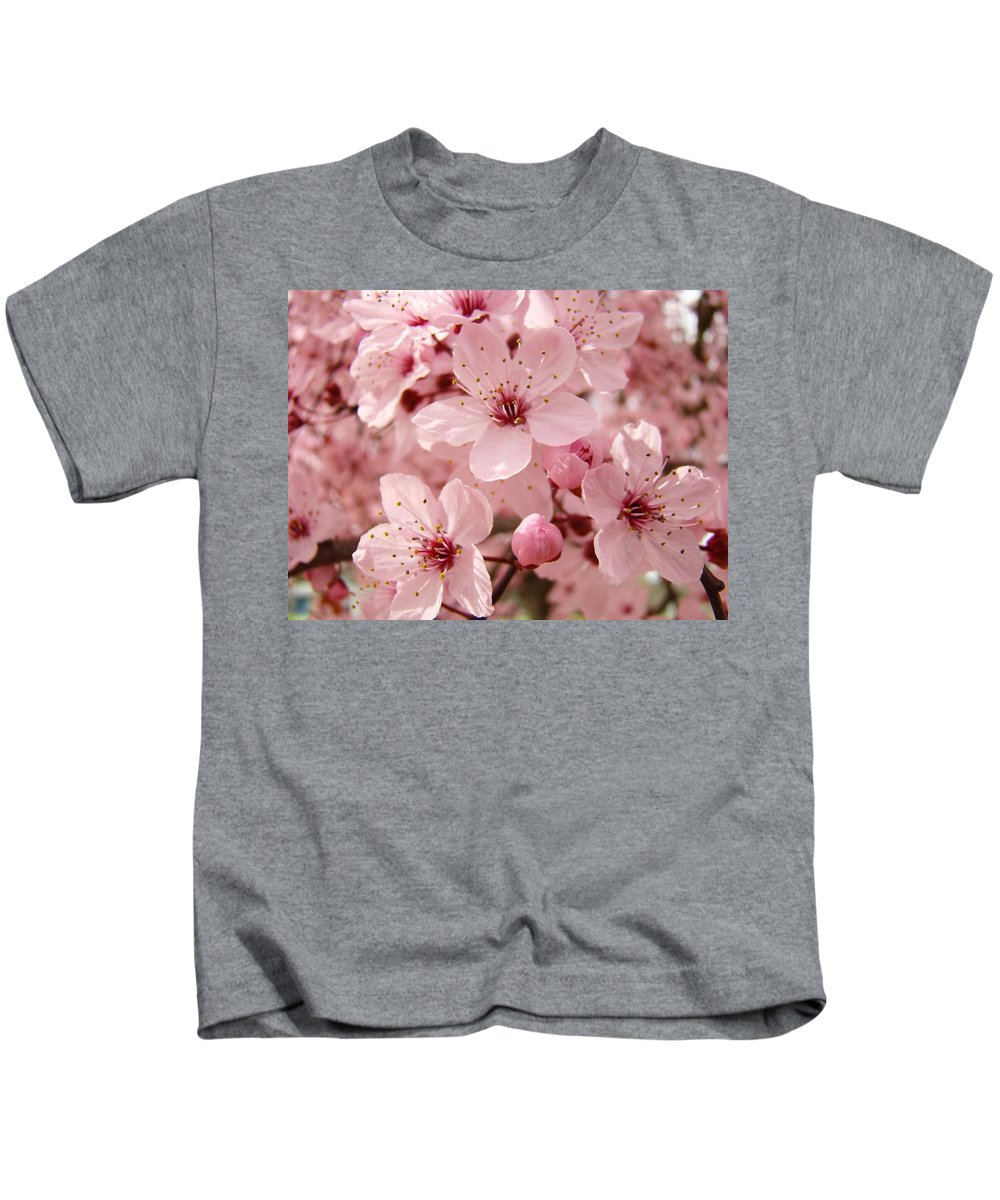 Flowers Kids T-Shirt featuring the photograph Spring Floral Pink Tree Blossoms Art Prints Baslee Troutman by Baslee Troutman
