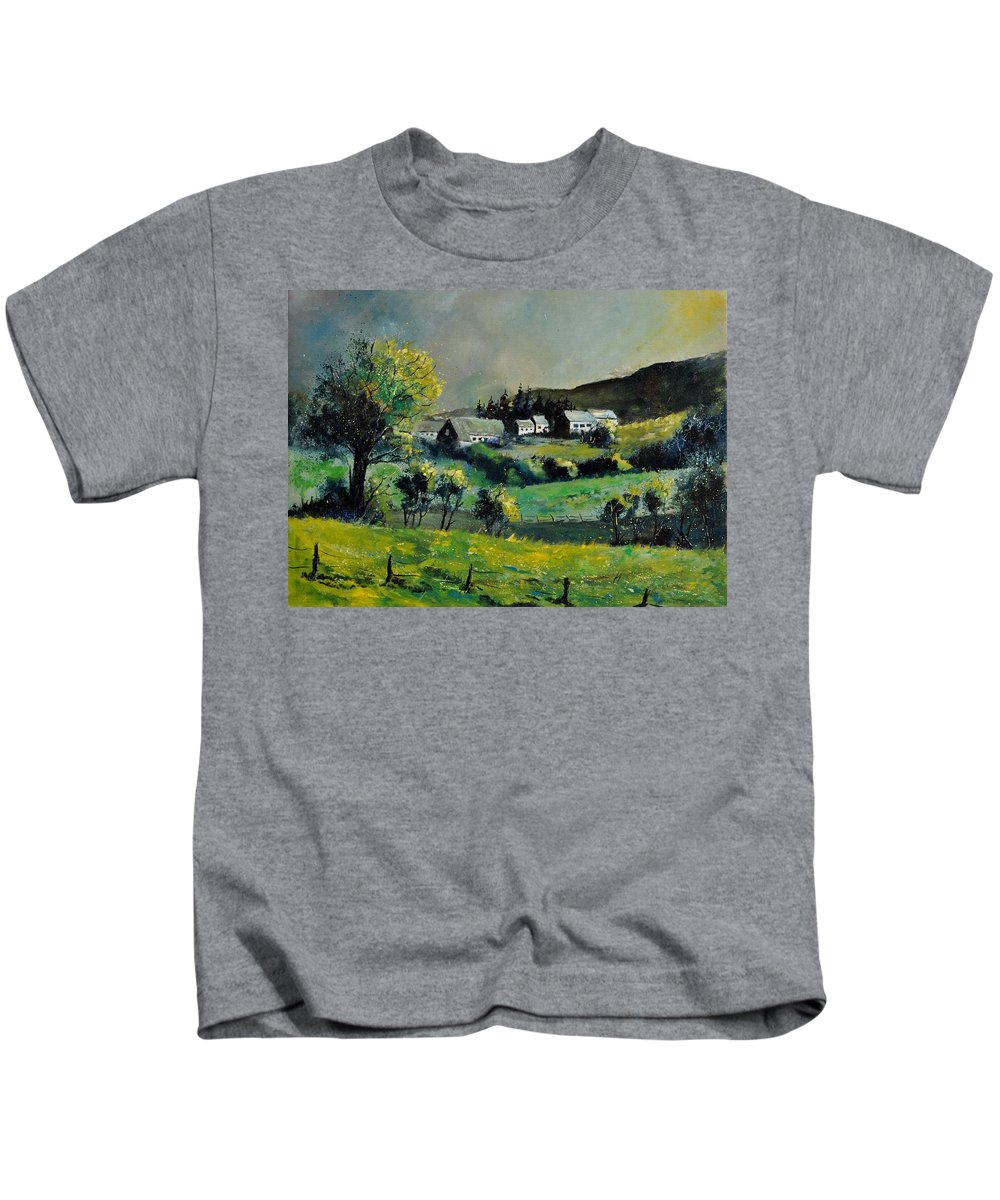 Landscape Kids T-Shirt featuring the painting Spring In Voneche by Pol Ledent