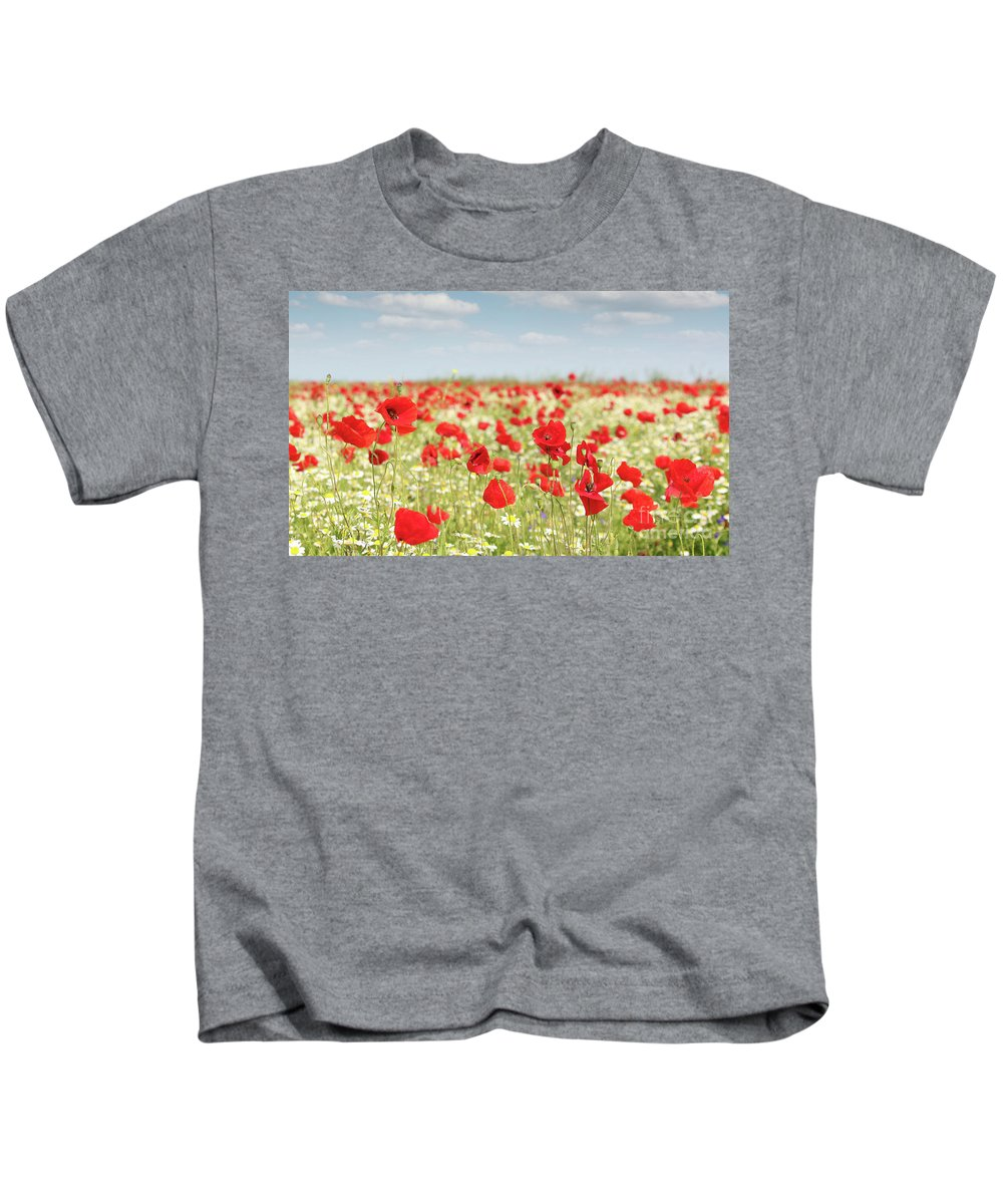 Camomile Kids T-Shirt featuring the photograph Spring Meadow With Wild Flowers by Goce Risteski